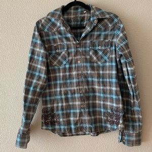 191 Unlimited Boys Plaid Button Down Shirt